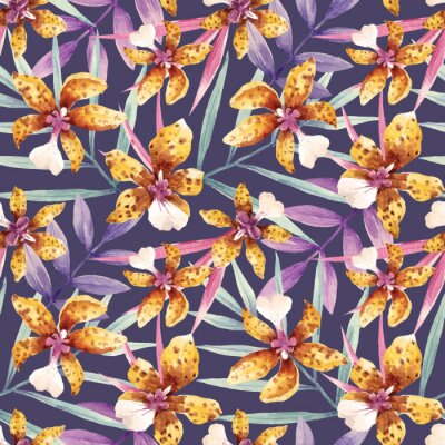 Tapeta Akwarele orchidea kwiaty tropikalnych wektora deseniu