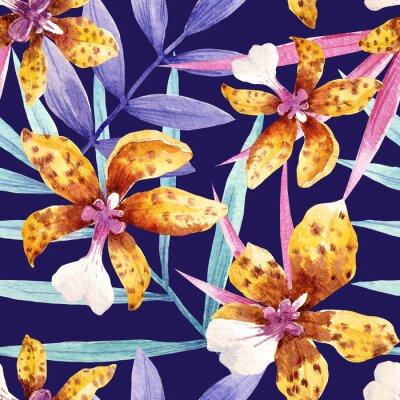 Tapeta Akwarele orchidea kwiaty tropikalnych wzorca