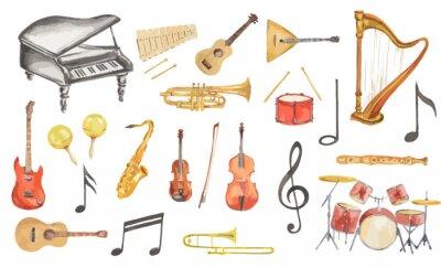 Tapeta Akwarele zestaw instrumentów muzycznych. Wszystkie rodzaje instrumentów takich jak fortepian, saksofon, trąbka, bębny i inne.