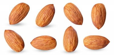 Tapeta almond raw piece collection set.almond full macro shoot .nuts healthy food ingredient on white isolated .Clipping path