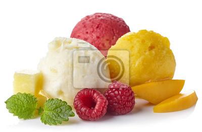 Ananas, malinowy i sorbet mango