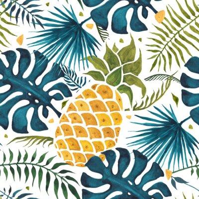 Tapeta Ananasowy tło. Ręcznie rysowane ilustracji. Akwarela Bezszwowy wzór