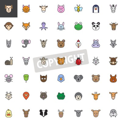 Tapeta Animal head filled outline icons set, line vector symbol collection, linear colorful pictogram pack.