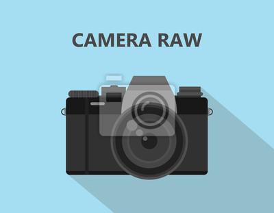Tapeta Aparat fotograficzny RAW plik formatu ilustracji z ikoną aparatu z cieniem i niebieskim tłem