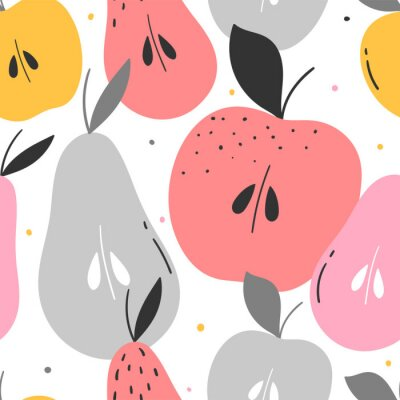 Tapeta Apples and pears seamless pattern for print, textile, fabric. Modern cute kids background.