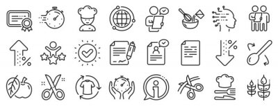 Tapeta Approved application, Scissors cutting ribbon, Artificial intelligence icons. Chef hat, Customer survey, Fast delivery line icons. Percent decrease, interest rate, contract. Vector