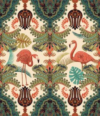 Tapeta Arabski wzór. Etniczne ozdobne tapety. Kolorowe tło dekoracyjne z ornamentami, roślinami i flamingami. Projektowanie tkanin, tkanin, wstęgi, papieru do pakowania