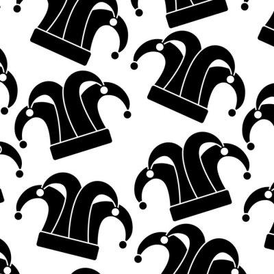 Tapeta arlekin kapelusz karnawał akcesorium wzór obrazu wektorowe ilustracja projektowe czarnym i
