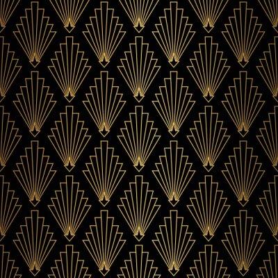 Tapeta Art Deco Pattern. Seamless black and gold background.