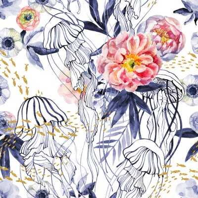 Tapeta Artistic illustration with jellyfishes, a school of fish, peony flowers and leaves