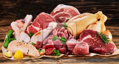 Tapeta Asortyment surowego mięsa, wołowina, kurczak, indyk