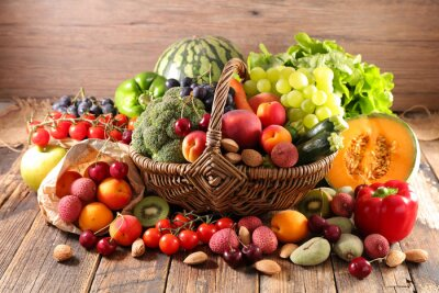 Tapeta assorted of fruit and vegetable in wicker basket
