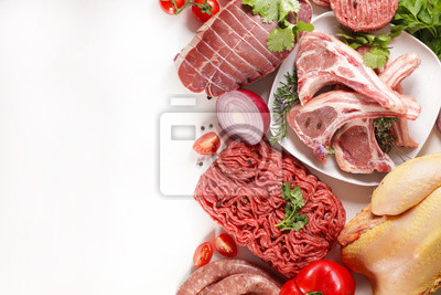 Tapeta assorted of raw meats, beef- sausage- chicken isolated on white background