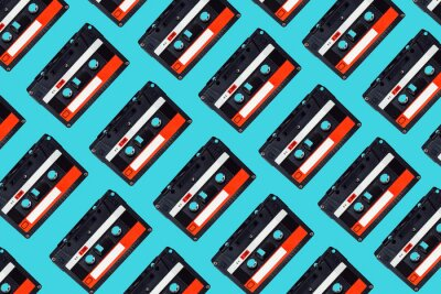 Tapeta Audio cassette pattern on colored background. Audio cassette tape. Vintage disco poster. Pattern of audio cassete