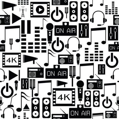 Tapeta audio seamless pattern background icon.