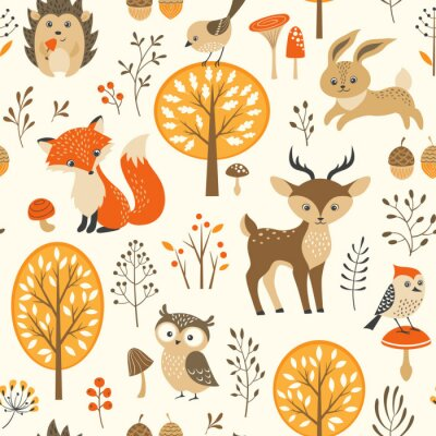 Tapeta Autumn forest seamless pattern with cute animals