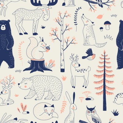 Tapeta Autumn Forest seamless vector pattern. Woody landscape with Bear Deer Hare Wolf Moose Fox Owl Squirrel creatures repeatable background. Woodland childish print in Scandinavian decorative style. Cute