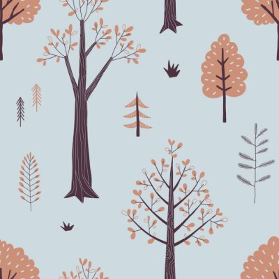 Tapeta Autumn Forest seamless vector pattern. Woody landscape with plant and trees repeatable background. Woodland childish print in Scandinavian decorative style. Cute forest print for children fashion