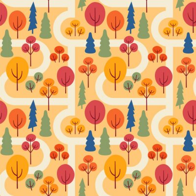 Tapeta Autumn park with sidewalks. Seamless vector pattern with trees.
