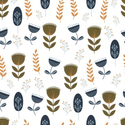 Tapeta Autumn seamless pattern with wild floral elements. Hand drawn leaves, flowers, herbs. Modern repeatable background with floral motifs. Vector wallpaper. EPS 10