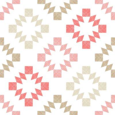 Tapeta Aztec elements. Design with manual hatching. Ethnic boho ornament. Seamless background. Tribal motif. Vector illustration for web design or print.