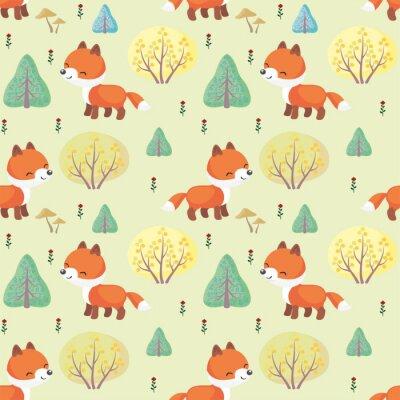 Tapeta Baby kolorowe bez szwu deseń z wizerunkiem cute zwierząt leśnych. Wektor tła.