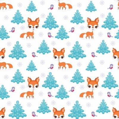 Tapeta Baby kolorowe bez szwu deseń z wizerunkiem cute zwierząt leśnych. Zimowe tła.