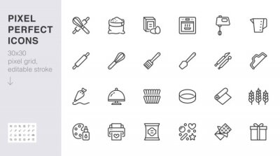 Tapeta Bakery line icon set. Baking tool - confectionery bag, dough roll, cake decorating, pastry ingredient minimal vector illustration. Simple outline sign of cooking. 30x30 Pixel Perfect, Editable Stroke