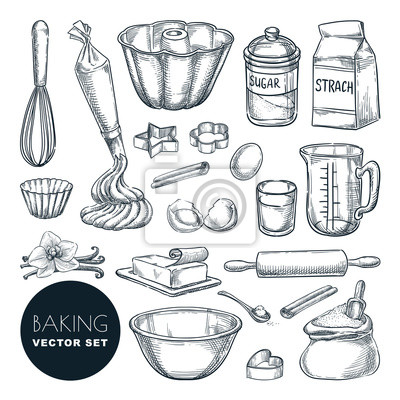 Tapeta Baking ingredients and kitchen utensil icons. Vector flat cartoon illustration. Cooking and recipe design elements