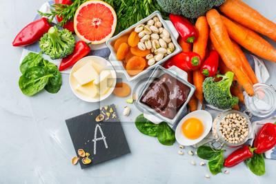 Tapeta Balanced clean eating nutrition, food rich in vitamin a