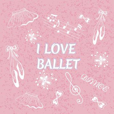 Tapeta Balet doodle ilustracji. Kocham balet