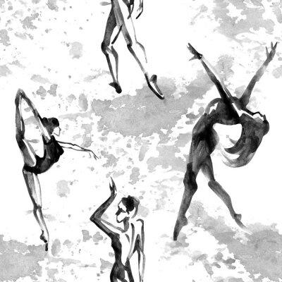 Tapeta Ballerina silhouette on white background. Watercolor pattern.