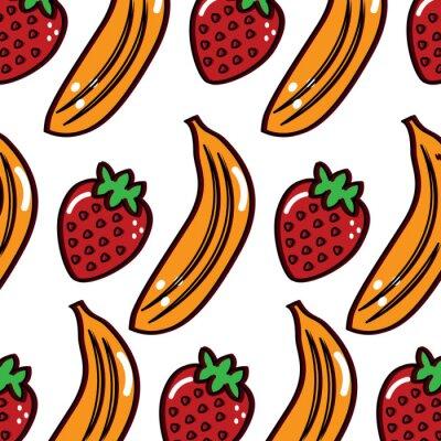 Tapeta banan truskawkowy owoc wzór obrazu wektor ilustracja projektu