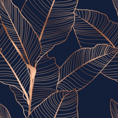 Tapeta Banana palm tree leaves seamless pattern texture. Copper gold shiny glow outline. Navy dark blue background.