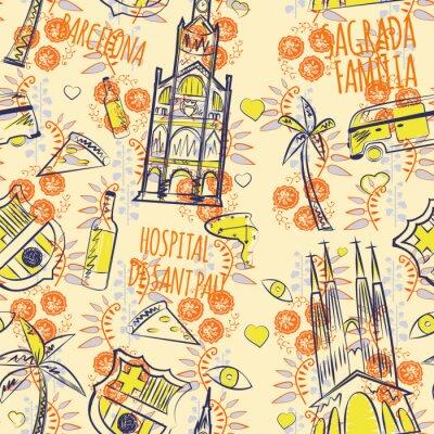 Tapeta barcelona pattern seamless design graphic