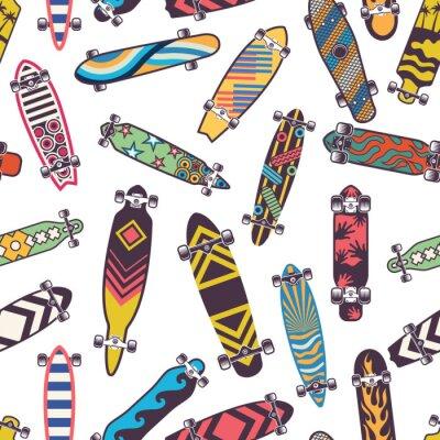 Tapeta Barwiony bezszwowy wzór z różnorodnymi deskorolkami