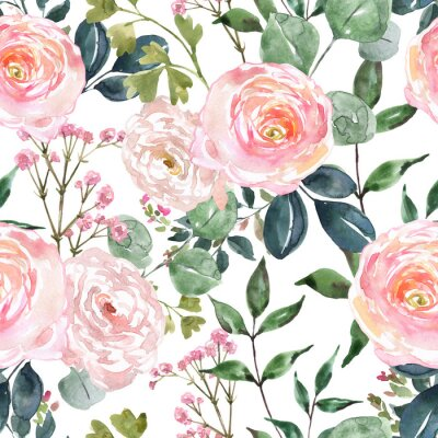 Tapeta Beautiful blush pink and cream colored flowers and greenery seamless pattern. Watercolor hand drawn floral ornament on white background. Ranunculus, rose flower, sage green eucalyptus and leaf
