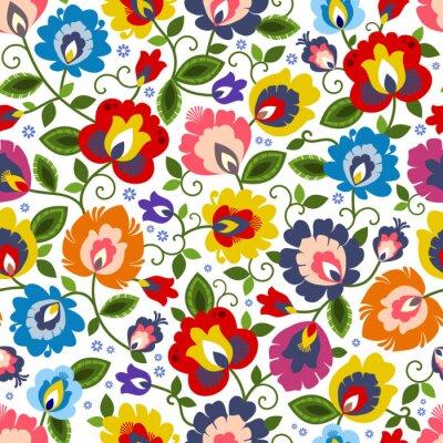 Tapeta Beautiful Polish traditional floral folk pattern vector