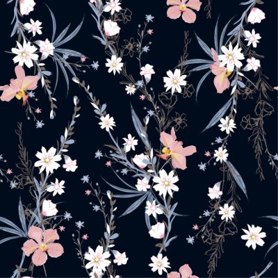Tapeta Beautiful  seamless pattern of garden many kind of botanical plants,flowers,orchid ,floral design for fashion,fabric,wallpaper,web and all prints