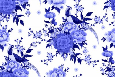 Tapeta Beautiful seamless pattern with diamond pheasant sitting on peony branch with blooming sakura,plum and daisies for summer dress in Chinese style