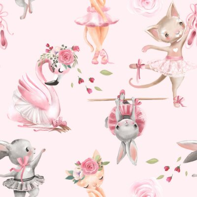 Tapeta Beautiful, seamless, tileable pattern with watercolor ballerinas animals - bunny, kitten, cat and flamingo bird, ballet girls and pink rose blossoms, flowers