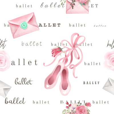 Tapeta Beautiful, trendy, seamless, tileable pattern with watercolor pink ballet shoes and rose, love letters and text, lettering