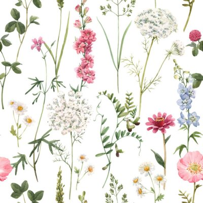 Tapeta Beautiful vector floral summer seamless pattern with watercolor hand drawn field wild flowers. Stock illustration.