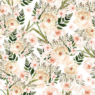 Tapeta Beautiful Watercolor seamless pattern with roses flowers and herbs.