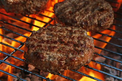 Tapeta Beef burger for hamburger on barbecue flame grill