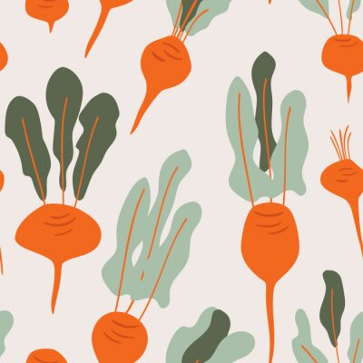 Tapeta Beets doodle seamless vector pattern for kitchen wallpaper, textile, fabric, paper. Flat hand drawn vegetables background for Vegan, farm, eco design