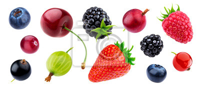 Tapeta Berries collection isolated on white background with clipping path
