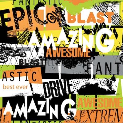 Tapeta bez szwu abstrakcyjny wzór w jasnych kolorach z motocyklistą, słowa, elementy grunge. na tekstylia, grafiki, papier pakowy dla chłopca i dziewczynki