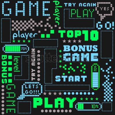 Tapeta bez szwu abstrakcyjny wzór w stylu gry pikseli. Z kostkami, słowami dla chłopców. Tekstylia, druk, koszulki, sieć