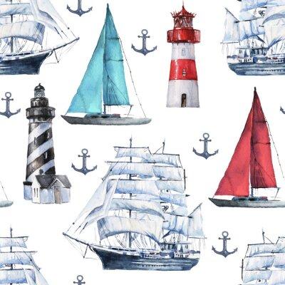 Tapeta Bez szwu akwarela wzór morskie z różnych łodzi, statków, statków i kotwicy na białym tle, idealny do opakowań, tapet, pocztówek, pozdrowień, zaproszeń ślubnych, romantycznych wydarzeń.